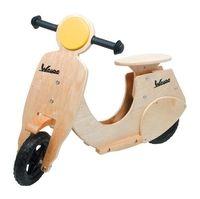 Loopscooter ''vespa''    Houten Loopscooter vespa mooi nostalgische ontwerp van de 1950's scooters,Gemaakt van hout en multiplex beuken die bijzonder stevig is, biedt veel rij plezier! Full-rubber banden zorgen voor een goed rijcomfort, Het zadel is in hoogte verstelbaar. De stuurhoek van het stuurwiel is beperkt, waardoor de kans op vallen minder is.    Afmetingen ca. 82 x 59 cm  € 79,95