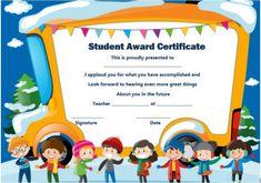 Student Award Certificate Template Preschool Certificates, Award Certificates, Kids Awards, Student Awards, Graduation Certificate Template, Certificate Templates, School Badges, Preschool Graduation, Classroom Activities