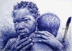 20 Realistic Ballpoint Pen Drawings from African Artist Enam Bosokah Beautiful Pencil Drawings, Amazing Drawings, Amazing Art, Art Drawings, Biro Art, Ballpoint Pen Drawing, African Artists, Realistic Paintings, African American Art