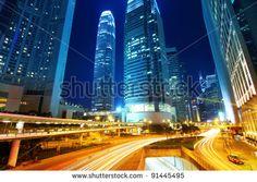 traffic through downtown HongKong - stock photo