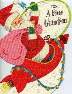 Mid Century Christmas Card - Santa in a Rocket