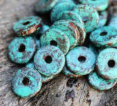Hey, I found this really awesome Etsy listing at https://www.etsy.com/listing/158304240/25pc-greek-ceramic-beads-green-patina