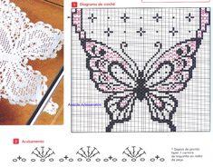 caminho de mesa de crochê com grafico de borboleta 1