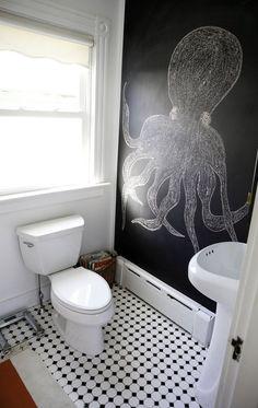 Toilettes et chalkboard