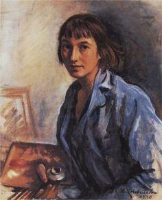 Artist: Zinaida Serebriakova  Completion Date: 1930  Style: Expressionism  Genre: self-portrait