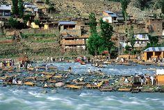 Holiday resort at river Kalam, Swat Valley Pakistan.