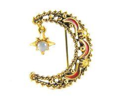 Florenza Crescent Moon Brooch Glass Moonstone by hipcricket, $20.00