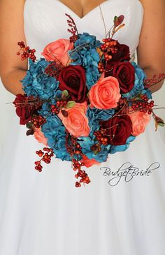 This is a stunning round brides bouquet made with oasis hydrangea, coral roses, dark red roses and fall berries Coral Fall Wedding, Blue Wedding Flowers, Fall Wedding Bouquets, Bride Bouquets, Wedding Colors, Burgundy Wedding, Trendy Wedding, Teal Bouquet, Wedding Bride