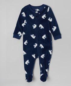 Look what I found on #zulily! Navy Polar Bear Fleece Footie - Infant, Toddler & Boys #zulilyfinds