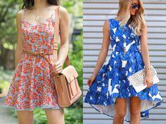 Inspiração: Estampa Floral na Primavera - os dois vestidos achei um amor, mas esse com a estampa azul ganhou o meu coração ♥. Perfeito para uma ocasião mais especial, não acham?