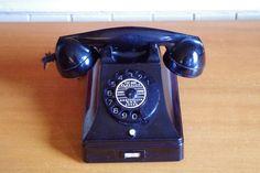 Vintage 1960s PTT bakelite rotary telephone from by retrowarehouse