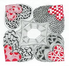 Again the white space creates 3 dimensionality to the shapes. Heart Doodle, Zen Doodle, Doodle Art, Doodles Zentangles, Zentangle Patterns, Pattern Drawing, Pattern Art, Celtic Drawings, Love Doodles