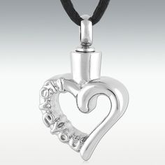 I Love You Heart Stainless Steel Cremation Jewelry - Engravable