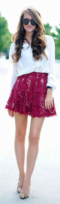 White top, burgundy skirt, animal print shoes