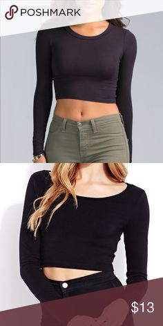 Black Crop Top New condition, boutique item, and super cute black crop top. Stretchy and soft material.💚•Note this item comes with a free gift• Boutique Tops Crop Tops
