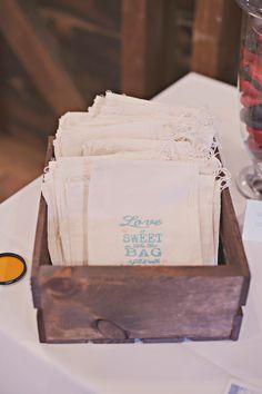 handmade muslin love is sweet bags for candy table. #barnwedding #candytable See more... http://www.weddingchicks.com/2013/11/05/diy-barn-wedding/
