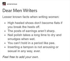 Male writers writing female characters, read the article Writing Advice, Writing Help, Writing A Book, Writing Prompts, Writing Ideas, Dialogue Prompts, Writing Images, Writing Humor, Article Writing