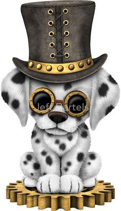 'Cute Steampunk Dalmatian Puppy Dog' Art Print by jeff bartels Bff Drawings, Disney Drawings, Animal Drawings, Animal Pictures, Cute Pictures, Steampunk Animals, Arte Steampunk, Anime Animals, Art Plastique