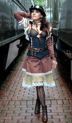 Steampunk tatterpunk Skirt, Shrug and Sleeves CUSTOM SIZED