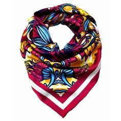 Florian London Spring Floral Printed Silk Scarf (€82) ❤ liked on Polyvore featuring accessories, scarves, flower print, floral shawl, floral print scarves, square silk scarves, woven scarves and square scarves