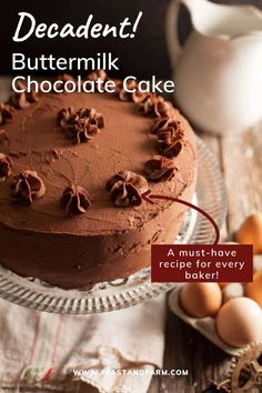 A recipe that every baker needs! This showstopping chocolate cake is super moist and rich with a hint of coffee flavor and iced with the perfect chocolate frosting. Easy Homemade Desserts, Homemade Cake Recipes, Best Cake Recipes, Real Food Recipes, Easy Recipes, Delicious Desserts, Dessert Recipes, Favorite Recipes, Best Chocolate Cake
