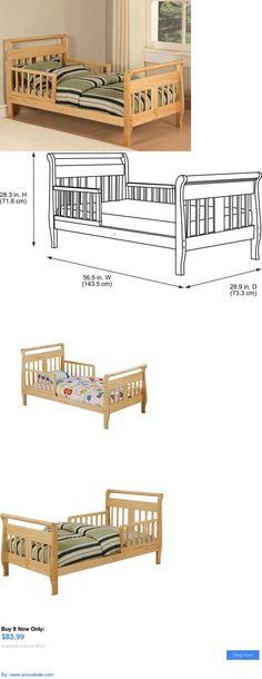 Kids Furniture: Toddler Bed With Rails Sleigh Crib Mattress Boys Girls Kids Furniture Natural BUY IT NOW ONLY: $83.99 #priceabateKidsFurniture OR #priceabate