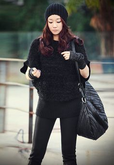 Korean Fashion Pure Black Short Sleeve Sweater (With Scarf)
