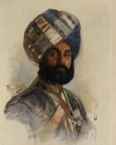 British; Risaldar-Major Hukam Singh, Sirdar Bahadur, 16th Bengal Cavalry painted by Rudolf Swoboda c.1895. Hukam Singh is depicted in uniform with the badge of the Order of British India. He was appointed Risaldar-Major of his regiment in 1891. Sirdar Bahadur was an Indian military distinction. He was one of the soldiers in the Indian contingent which came to England for the Diamond Jubilee. T
