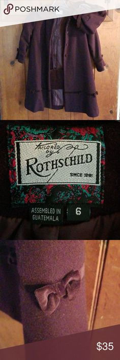 Rothschild Tailored Coat Beautiful girls Warm dress coat. Hat and Hand warmer included. Rothschild Jackets & Coats