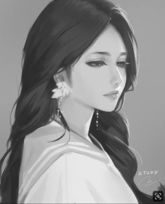 closed mouth earrings face from side grey background greyscale highres jewelry light smile long hair looking away looking down monochrome nguyen uy vu original painting portrait realistic signature simple background solo - Image View - Anime Art Girl, Manga Girl, Pretty Art, Cute Art, Character Inspiration, Character Art, Digital Art Girl, Korean Art, Beautiful Anime Girl