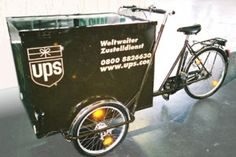 UPS using cargo tricycles in Germany Posted on 18 March 2007 They say that in city centers, making deliveries with these things is much faster than by cargo van. Cargo Van, Cargo Bike, James Casey, Sustainable Transport, Bicycle Safety, Ups Shipping, Drift Trike, United Parcel Service, Big Rig Trucks