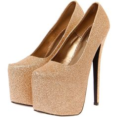 Designer Clothes, Shoes & Bags for Women Gold Glitter Pumps, Gold High Heels, Sparkly Heels, Gold Pumps, Gold Shoes, High Heel Pumps, Pumps Heels, High Platform Shoes, Cute Shoes