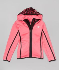 Pink & Black Trim Zip-Up Hooded Jacket - Girls by New Balance #zulily #zulilyfinds