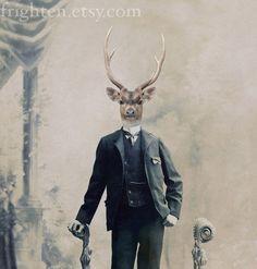 Deer Art Print, Mixed Media Collage Print, Deer Boy, 8x10 Altered Victorian Portrait, For Him, frighten. $22.00, via Etsy.