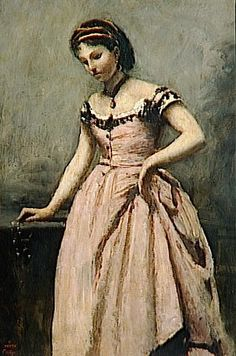 Giclee Print: Girl in Pink Dress Wall Art by Jean-Baptiste-Camille Corot by Jean-Baptiste-Camille Corot : Almeida Junior, Jean Baptiste, Oil Painting Reproductions, Camille, Romanticism, Belle Photo, Gradient Color, Young Women, Pink Dress