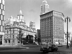 Old City Hall and the Majestic Building, looking north up Woodward. Detroit, MI