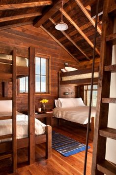 Rustic Cabin Bedroom- bunk beds with Queen on bottom Guest Cabin, Bunk Rooms, Log Cabin Homes, Log Cabin Living, Log Cabins, Cabins And Cottages, Small Cabins, House Design, Wall Design