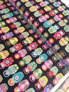 Matryoshka Doll quilt or craft fabric by Ellen Krans for Robert Kaufman- 1 yard or by the yard