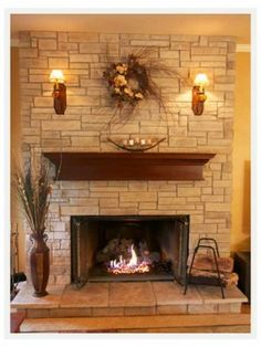 Ledge Stone Veneer Fireplace Makeover Pictures Stacked Fireplaces
