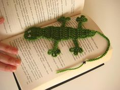 Green CROCHET BOOKMARK Crocodile