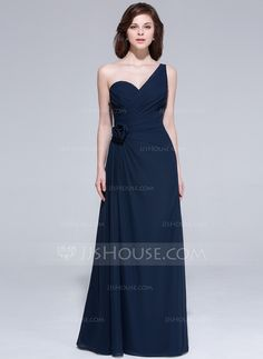 A-Line/Princess One-Shoulder Floor-Length Ruffle Flower(s) Zipper Up Regular Straps Sleeveless No Dark Navy Spring Summer Fall General Plus Chiffon Evening Dress