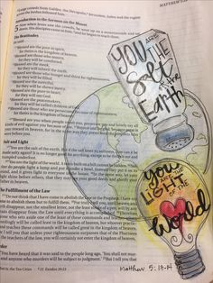 Matthew 5: 13 &14 You are the salt of the earth. You are the light of the world. Stay salty and burn bright! Bible journaling by Julie Williams