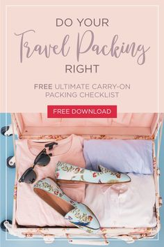 Get your FREE Ultimate Carry-On Packing Checklist Download! When the idea of running through airports make you nervous, simplify your travel plans with packing only carry-on luggage. To make travel even easier no matter where you're headed, we've created a FREE Ultimate Carry-On Packing Checklist as a downloadable PDF that you can print out at home. Click to download! #travel #adventure #vacation #holiday #travelpacking #tsa #luggage #travelbeauty #travelfashion #packing #travelwithkids
