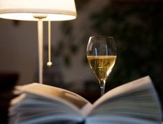 a good book and a glass of wine