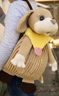 Cute Crochet, Crochet For Kids, Crochet Yarn, Crochet Backpack, Backpack Pattern, Puppy Backpack, Crochet Keychain Pattern, Kids Purse, Knitted Cushions