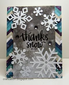 Thanks Snow Much with Simon Says Stamp January 2015 card kit and Lawn Fawn stitched snowflakes dies
