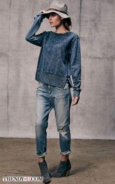 le sweatshirt femme en denim, chapeau en feutre gris Source by aimee_sittler Denim Fashion, Look Fashion, Winter Fashion, Guy Fashion, Fashion Shorts, Classy Fashion, Fashion 2018, Trendy Fashion, Spring Fashion
