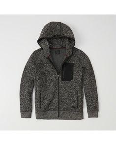 Comfortable full-zip jacket in soft sweater fleece fabric with adjustable hood, front pockets and standard straight hem. Mens Fleece, Jacket Style, Fleece Fabric, American Apparel, Nike Jacket, Hooded Jacket, Raincoat, Hoodies, Sports