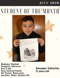 🌟 Student of the Month 🌟 July 2020 Alexander Vallecillos, 11 years old 🎨 Mediums Studied: Graphite, Charcoal, Pen & Ink, Gray Colored Pencils, Oil Pastel, Watercolor, Acrylics, Water-soluble Oils.  👏Amazing work!  #StudentoftheMonth #ArtSchool #Pastimes #ArtStudent Christina Ramos, Student Of The Month, Media Studies, Pastel Watercolor, Preschool Classroom, Museum Collection, Creative Thinking, Art School, Acrylics