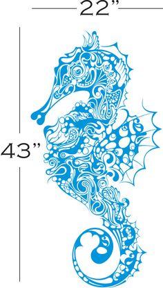 Beautiful X-Large SEAHORSE Bathroom Vinyl Wall Decals Art Stickers. $35.99, via Etsy.